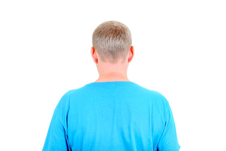 man back view: Rear view of the Man Isolated on the white background