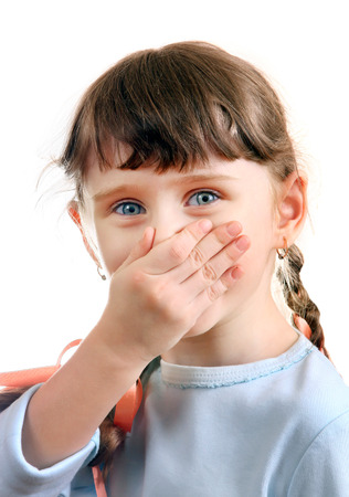 stench: Little Girl close the Nose Isolated on the White Background