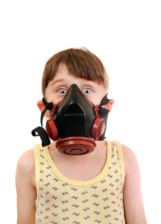 dust mask: Surprised Little Girl in in Gas Mask Isolated on the White Background Stock Photo