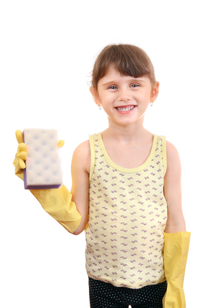 bath sponge: Cheerful Little Girl with Bath Sponge and Rubber Gloves Isolated on the White Stock Photo