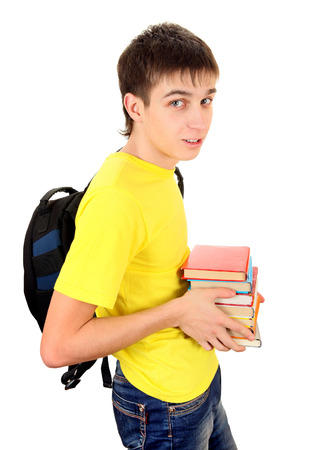 knapsack: Student with Knapsack Hold the Books Isolated on the White Background
