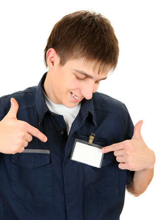 cardkey: Happy Teenager with Blank Badge on the Shirt on the White Background Stock Photo