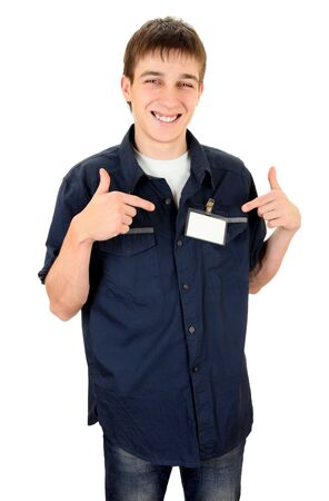 ides: Happy Teenager with Blank Badge on the Shirt on the White Background Stock Photo