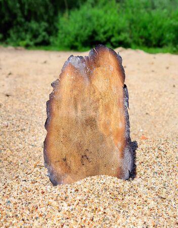 papel quemado: Papel quemado en la arena en la playa de verano Foto de archivo