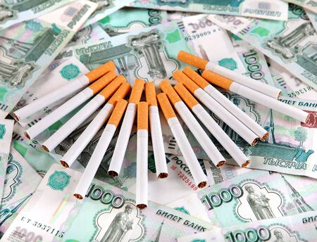 Cigarettes on the Russian Currency Background