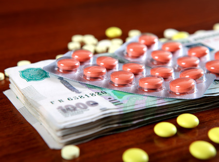 Russian Rubles and Medical Supplies on the Table