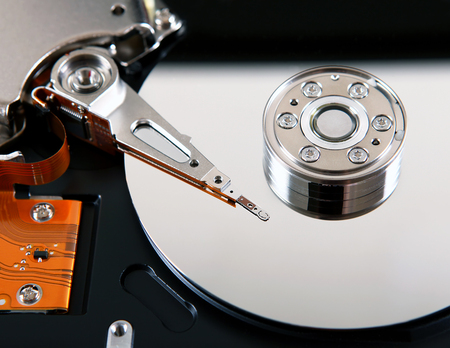 disk drive: Detail of the Opened Hard Disk Drive