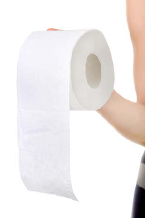diarrhoea: Toilet Paper in the Hand on the White Background closeup