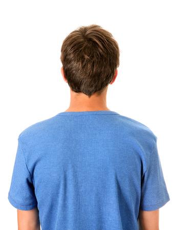 espalda: Vista posterior del hombre aislado en el fondo blanco