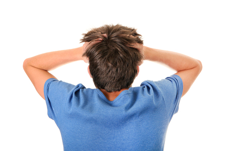 chagrin: Rear View of the Stressed Man Isolated on the White Background