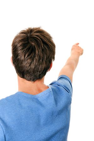 occiput: Rear View of the Man with Finger Up Isolated on the White Background Stock Photo