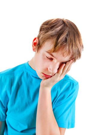 sorrowful: Sorrowful Kid Isolated on the White Background Stock Photo