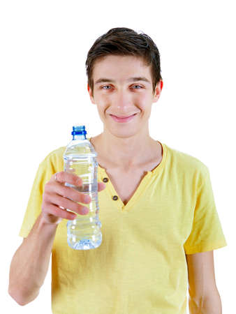 gladden: Happy Young Man with Bottle of Water on the White Background