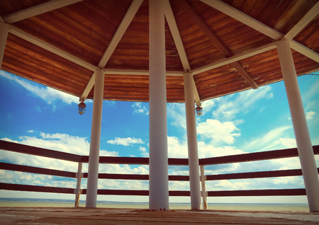 summer house: Summer House Interior on the Sky Background Stock Photo