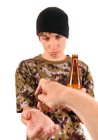 young adult man: Beggar with a Beer Isolated on the White Background