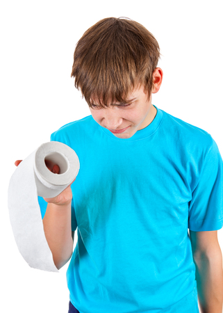 despairing: Kid with Toilet Paper Isolated on the White Background