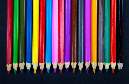 polychromatic: Color Pencils detail on the Black Background