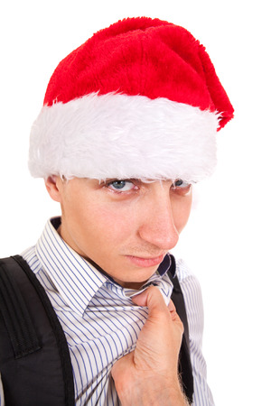 rowdy: Person threatens to Teenager in Santa Hat Isolated on the White Background