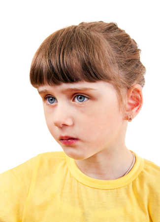 Sad Small Girl Portrait Isolated on the White Background Stock Photo