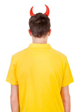 traitor: Rear View of a Man with Devil Horns Isolated on the White Background