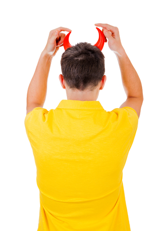seducer: Rear View of a Man with Devil Horns Isolated on the White Background