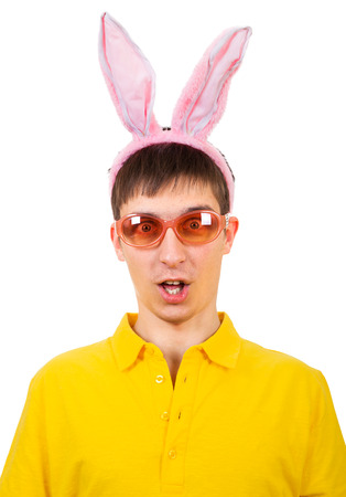 sissy: Funny Young Man in Bunny Ears Isolated on the White Background