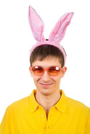 Young Man in Bunny Ears Isolated on the White Background