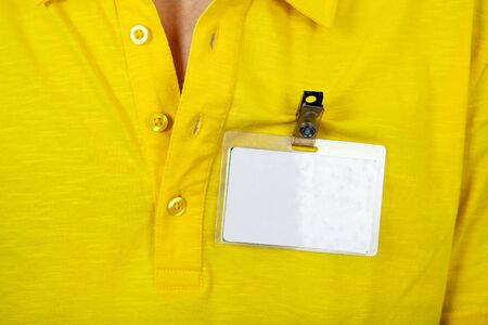 cardkey: Person with the Blank Badge on the Shirt closeup