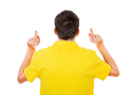 Rear View of a Man with Middle Fingers Gesture on the White Background Imagens
