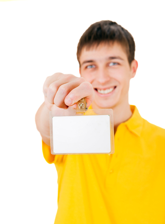 cardkey: Young Man shows on Blank Badge on his Hand closeup on the White Background