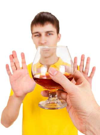 Young Man refuse Alcohol Isolated on the White Background Stock Photo