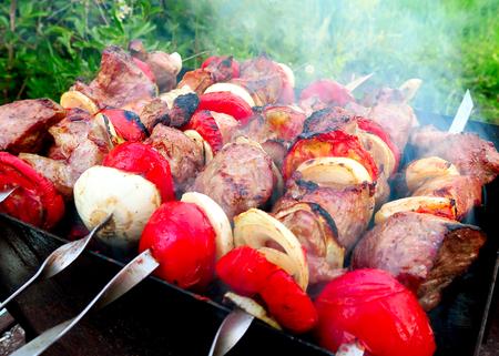 Shish Kebab cooking on the Nature