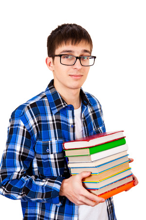 Young Man with the Books Isolated on the White Background photo