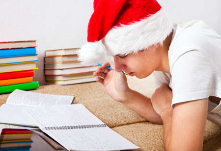 Young Man in Santas Hat doing Homework on the Couch Stock Photo