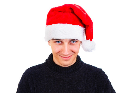 Young Man Portrait in Santa Hat Isolated On The White Background