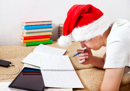 Young Man in Santas Hat doing Homework on the Sofa
