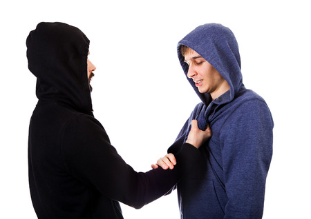 Conflict of Two Guys Isolated on the White Background Imagens