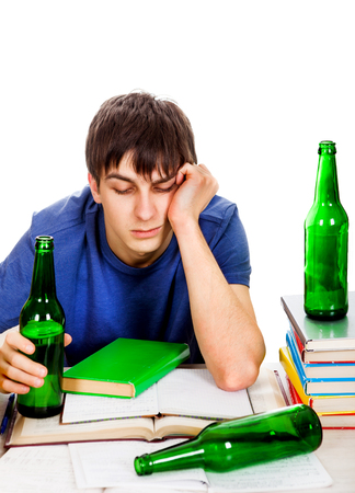 Sad and Tired Student with a Beer on the White Background