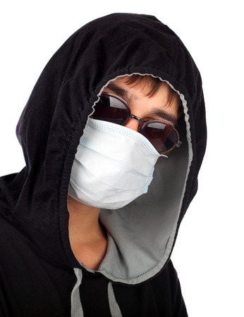 Young Man in the Mask Isolated on the White Background Stock Photo