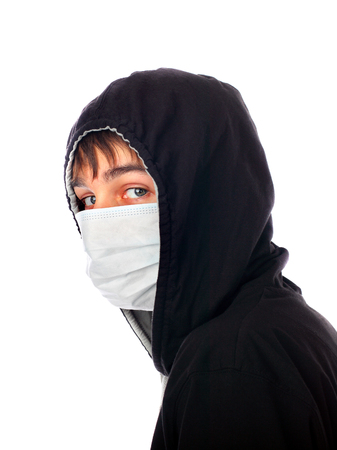 Young Man in the Mask Isolated on the White Background 版權商用圖片