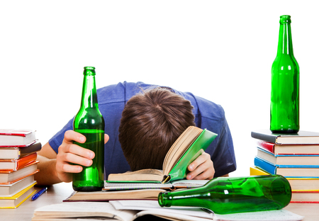 Student with a Beer sleep on the Books Isolated on the White Background