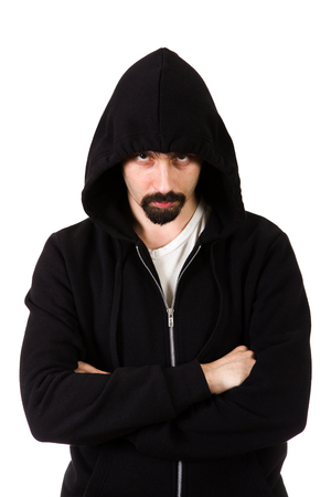 Stern Look Man Portrait in a Hoodie on the White Background Stock Photo
