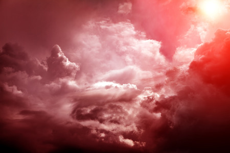 Sunlight in the Red Dramatic Clouds Area Stok Fotoğraf