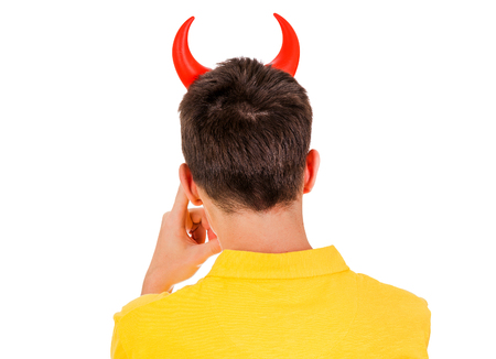Rear View of a Man with Devil Horns on the White Background