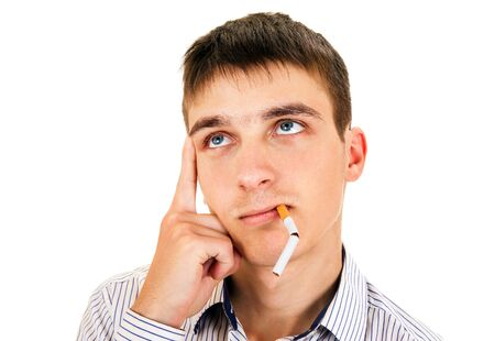 Young Man with a Broken Cigarette is Thinking on the White Background closeup