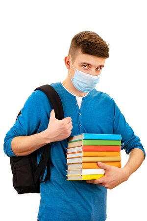 Student in Flu Mask hold a Books Isolated on the White Background