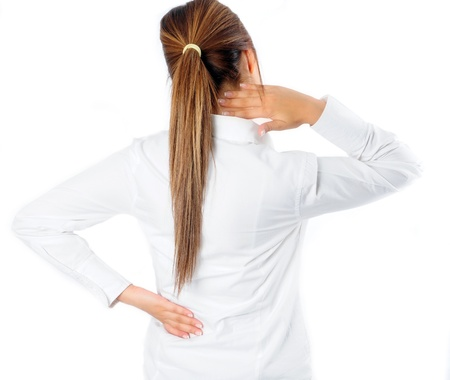 woman pain: Back and Neck Pain  Stock Photo