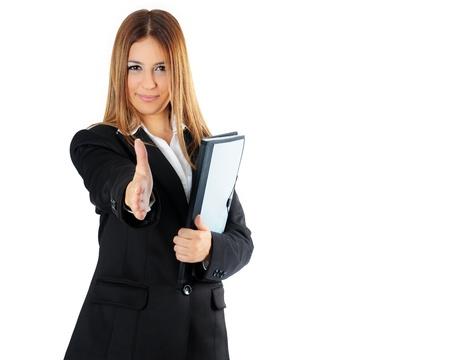 Business Woman offre stretta di mano