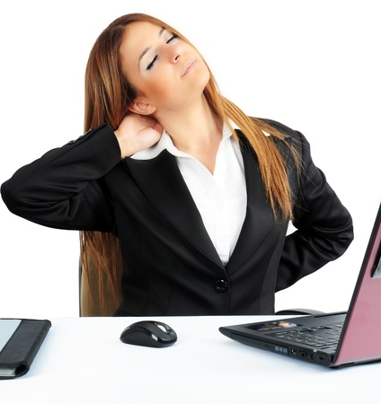 over burdened: Business woman Having Backache Stock Photo