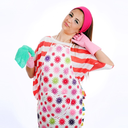 la pulizia casalinga stanca